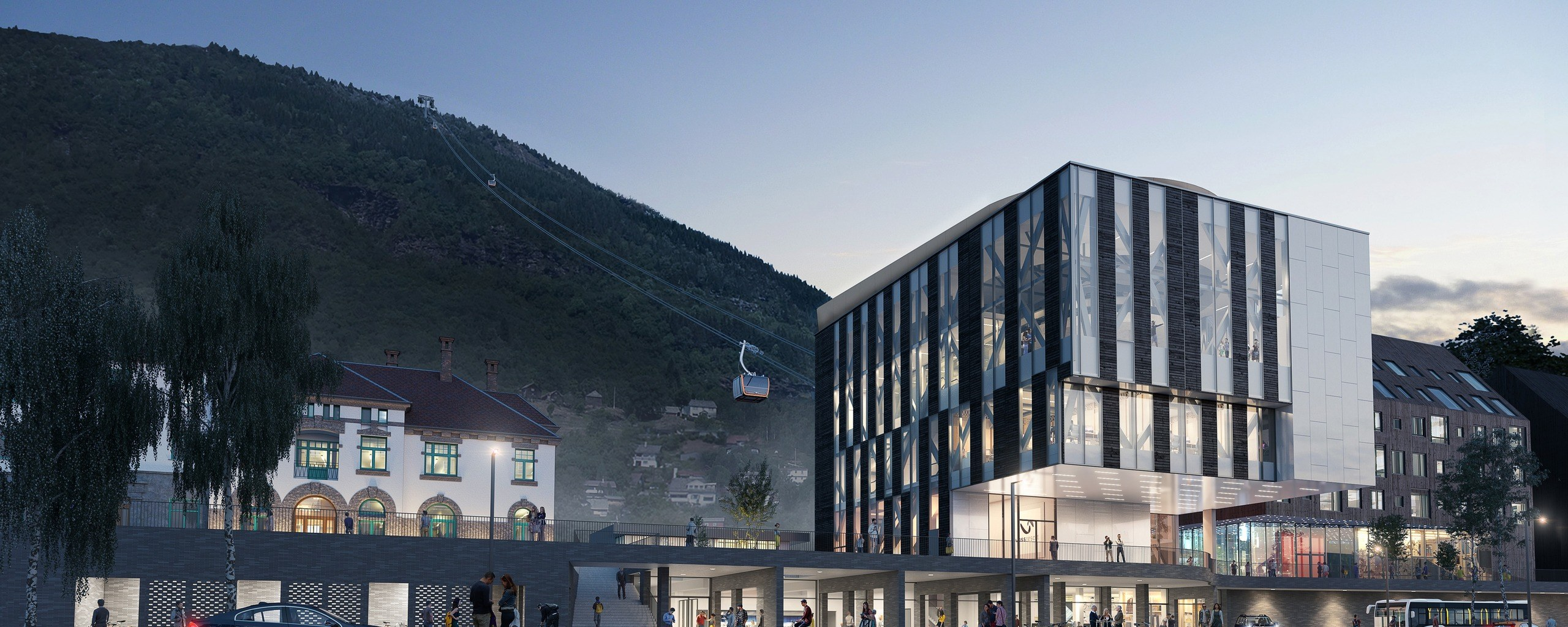 The lower station of the new gondola. Illustration: HLM Arkitektur AS